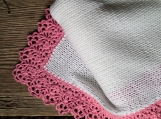 Infant blanket baby girl, white with pink lace border blanket