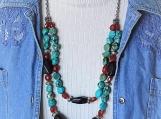 Long chunky turquoise necklace set western boho large necklace