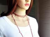 Long dainty heart of gold red coral  romantic delicate necklace