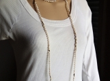 Long white pearl necklace freshwater pearl necklace for woman