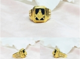 Onyx Vermeil 14K Gold Over Sterling Silver Mason Ring
