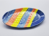 Oval platter with stripes