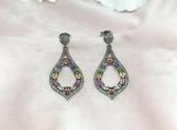 Sapphire & Diamond Oxidised Sterling Silver Earring
