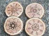 Snowflake Coasters, Snowflake Winter Decor, Wood Coasters
