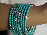 Turquoise floral memory wire gemstone hippi bracelet for her