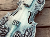 Violin decor - Shabby chic distressed embellished violin