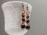 Wire wrapped earrings - Copper wire wrapped lava stone dangle earrings