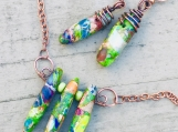 Boho wire wrap Chunky jasper bib necklace and earrings