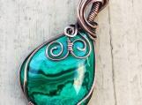 Wire wrapped malachite copper pendant necklace