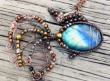 Wire wrapped pendant labradorite copper fish with Czech glass bead embellishments