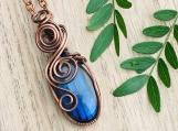 Wire wrapped pendant labradorite copper necklace amulet talisman gypsy boho chic