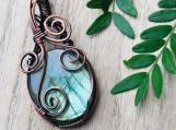 Wire wrapped pendant labradorite copper necklace talisman amulet boho hippie chic