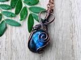 Wire wrapped pendant labradorite necklace copper necklace amulet talisman crystal