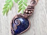 Wire wrapped pendant Lapis Lazuli cabochon copper necklace