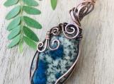 Wire wrapped pendant -Natural jasper copper wire wrap pendant necklace