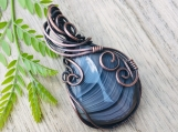 Wire wrapped pendant necklace - boho gypsy copper wrapped Botswana Agate pendant