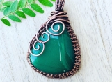 Wire wrapped pendant necklace - jade copper wire pendant