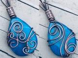 Aqua fire Agate copper wire wrapped pendant bead talisman amulet