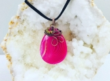Wire wrapped pendant - Pink striped Agate copper wire wrapped pendant necklace