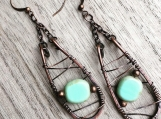 Wire wrapped statement earrings - Czech glass copper wire wrapped dangle drop earrings