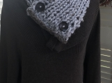 Women's Knitted Collar/Cowl -  Light Grey Tweed with Brown Trim