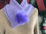 Women's Neck Warmer with Faux Fur Pom-Pom Closure-Lilac