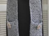 Women's Pocket Scarf - Light Grey Tweed