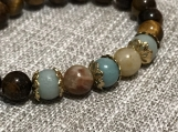 Amazonite and Tigers Eye bracelet