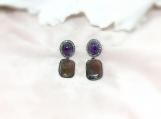 Amethyst,Sapphire Slice & Diamond Oxidised Silver Earring