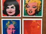Warhol Art Image Ceramic Tile Drink Coasters  4 Piece Set