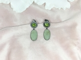 Onyx, Peridot & Diamond Oxidized Sterling Silver Earring