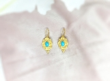 Turquoise & Pearl Vermeil 14K Gold Over Sterling Silver Earring