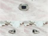Black Onyx & Diamond Sterling Silver Ring