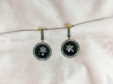 Black Onyx & Diamond Sterling Silver Star Earring