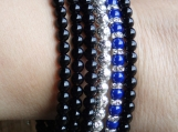 Blue black and silver gemstone wrapping bracelet