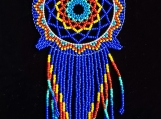 Bright Blue Beaded dream catcherMayan Style (Indigenous Jewelry)