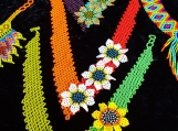 Bright Colors & Flowers Beaded Chocker, Mayan Style (Indigenous)