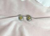 Citrine & Diamond Oxidised Sterling Silver Stud Earring