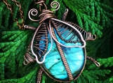Copper Wire wrapped beetle pendant necklace