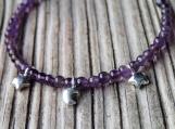 Dainty purple amethyst bracelet sterling silver charms moon star