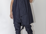 Denim Asymmetric Set / Sleeveless Vest / Harem Pants PS0013