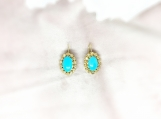Diamond & Turquoise Vermeil 14K Gold Over Silver Earring