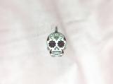 Diamond Enamelled & Oxidised Sterling Silver Skull Pendant