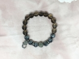 Diamond Oxidised Silver Spacer, Bead, Clasp & Topaz Bracelet