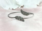 Diamond Oxidised Sterling Silver Bracelet