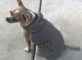 Extra Small Dog Button-downTurtleneck Sweater - Stone Grey Tweed