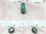 Emerald & Diamond Oxidised Sterling Silver Ring/Band