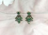 Emerald & Diamond Sterling Silver Earring