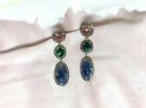 Emerald, Sapphire Slice & Diamond Sterling Silver Earring