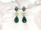 Emerald Slice, Moonstone & Diamond Sterling Silver Earring